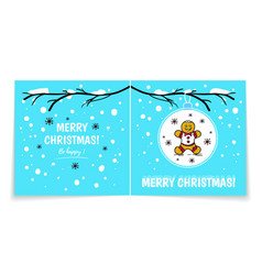 double sided holiday card with gingerbread man vector image