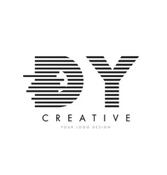Dy d y zebra letter logo design with black and vector
