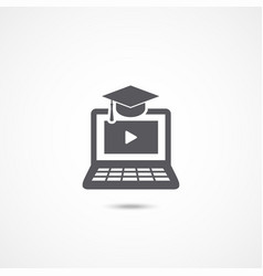 E-learning icon on white vector