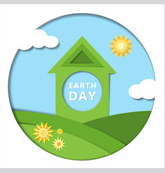earth day concept 22 april paper cut design with vector image