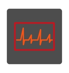 ECG Rounded Square Button vector image
