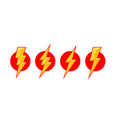 electric lightning set icons on a white vector image