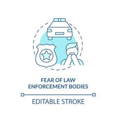 Fear law enforcement bodies blue concept icon vector