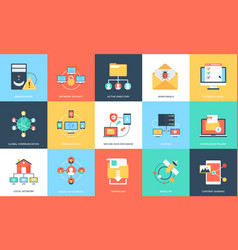 Flat icons set of internet technology and security vector