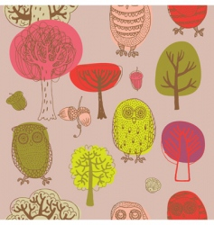Forest with owls vector