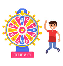 Fortune wheel and boy winner risk and luck money vector