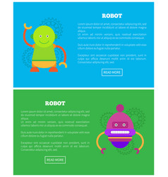 Friendly robots for human help internet pages set vector
