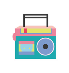 full color radio equipment to listen music with vector image