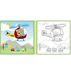 funny animal holiday time with little helicopter vector image