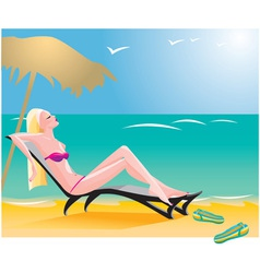 girl on beach vector image vector image