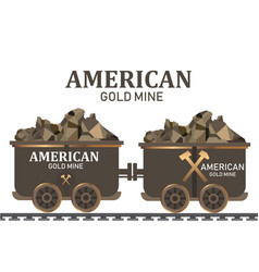 Gold mining trolleymining cart gold wagon vector