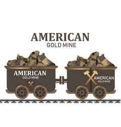 gold mining trolleymining cart gold wagon vector image