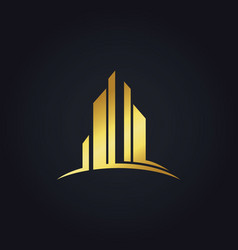 gold modern building business finance logo vector image
