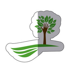green tree with leaves and stem in form hand in vector image