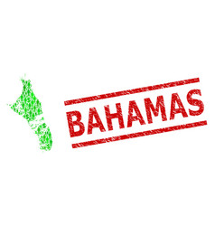 Grunge bahamas stamp print and green people and vector