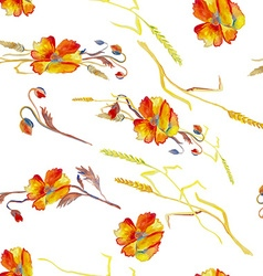Handpainted watercolor of poppies grass and vector