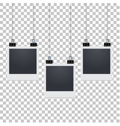 Hanging blank photo frame with shadow stylish vector