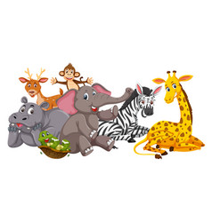 happy animals on white background vector image