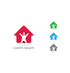 Happy family home icon help poor logo vector