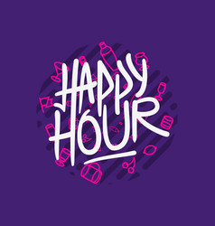 Happy hour label sign logo hand drawn brush vector
