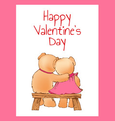 happy valentines day poster with two bears hugging vector image