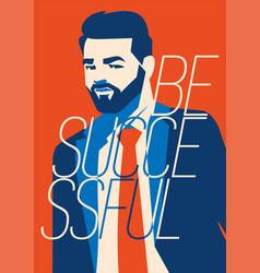 Hipster beard businessman vector