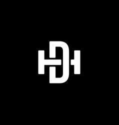 initial letter hd or dh logo template vector image