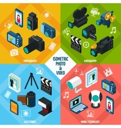 Isometric Photo Video Set vector