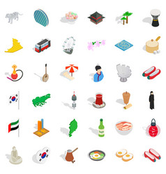Japanese culture icons set isometric style vector