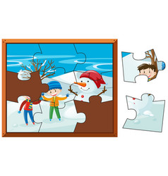 jigsaw puzzle pieces of boys and snowman vector image