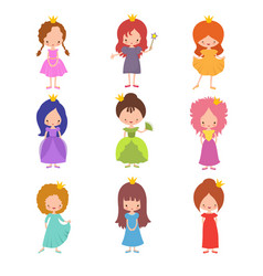 Kids fashion show characters little princesses vector