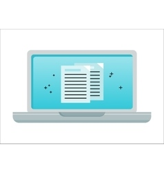 Laptop with electronic documents on screen vector