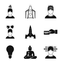 Leadership role icons set simple style vector