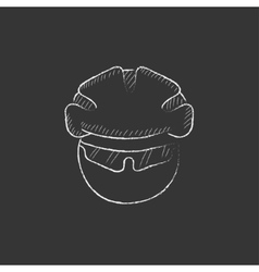 Man in bicycle helmet and glasses Drawn in chalk vector image