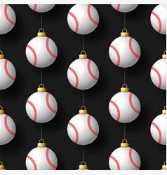 merry christmas baseball seamless pattern hang vector image