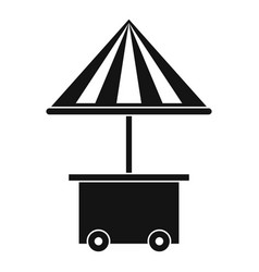 Mobile cart with umbrella for sale food icon vector