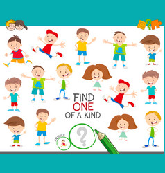 one a kind game with happy cartoon children vector image