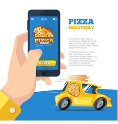 Order pizza online man holding smartphone and vector