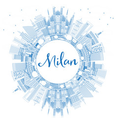 outline milan italy city skyline with blue vector image