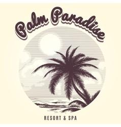 palm tree and ocean sketch logo vector image