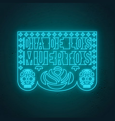 papel picado card in neon style traditional vector image