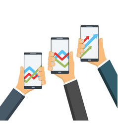 phones with statistical graphs on the screen vector image
