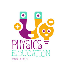 Physics education for kids logo symbol colorful vector
