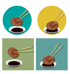 piece meat is holding with chopsticks and sauce vector image