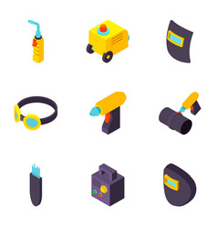 pipe welding icons set isometric style vector image