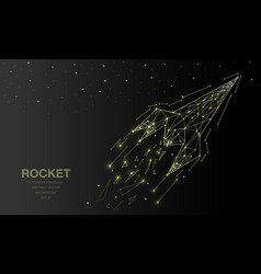 Polygonal wireframe mesh futuristic with rocket vector