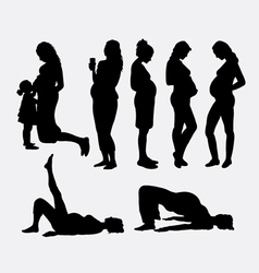 Pregnant woman silhouettes vector
