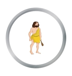 Primitive man with truncheon icon in cartoon style vector