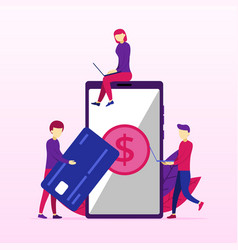 processing mobile banking payments credit card vector image