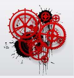 Red gear wheels of clockwork with black blots vector